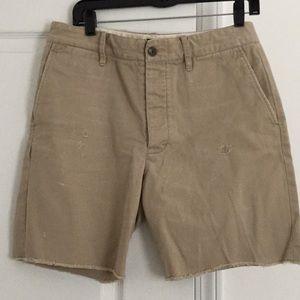 Rugby khaki button down shorts